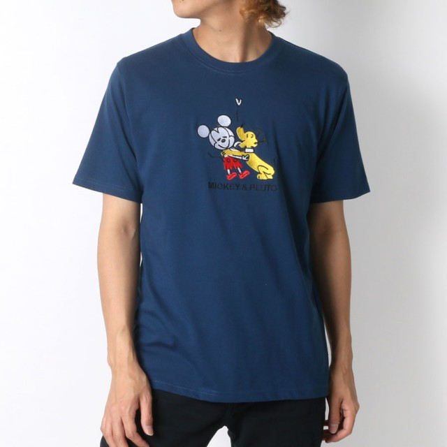 Tシャツ - MARUKAWA ディズニー Tシャツ メンズ 夏 キャラクター 刺繍 半袖 ホワイト/レッド/ネイビー M/L/LL【 ティーシャツ ミッキープルート ドナルド チップとデール アメカジ カジュアル かわいい】