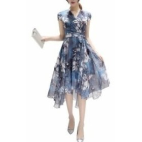 パーティードレス ロング Vネック 半袖 花柄 フレア 大人可愛い 春夏 結婚式 ドレスワンピ ブルー
