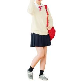 【レディース】 インナーパンツ付き レースアッププリーツスカート(スクール・制服) - セシール ■カラー:ネイビー ■サイズ:L,S,M