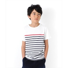 (GLAZOS/グラソス)ボーダー切り替え半袖Tシャツ/レディース ホワイト系2