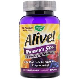 Alive! 50歳超の女性用グミビタミン、グレートフルーツフレーバー、60グミ