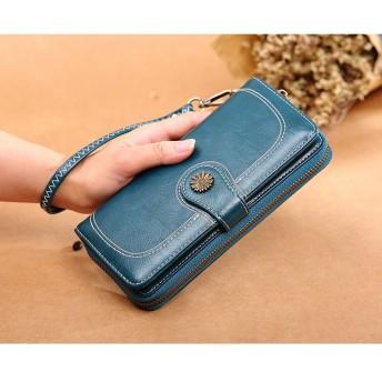 手帳型 財布 レトロ 大容量 カード ダブルファスナー 多機能 長財布 使いやすい財布 ボックス型小銭入れ 韓国ファッション 旅行/出勤など PUレザー
