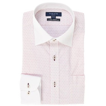 【TAKA-Q:トップス】形態安定スリムフィットワイドカラー長袖ビジネスドレスシャツ