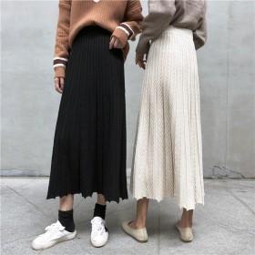 [55555SHOP] 韓国ファッション 着やせ効果抜群 ニット aラインミディアムニットスカート プリーツ裾 プリーツスカート ロングスカート
