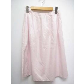 【中古】未使用品 ジルスチュアート JILL STUART 薄手 フレア スカート 2 薄ピンク ミモレ丈 裏地付き 日本製 タグ付き レディース
