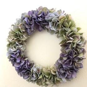 紫陽花のアンティークリース Lサイズ ︎パープル×グリーン ︎直径 約28cm 選べるリボン付き