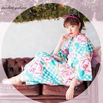 浴衣 - Ainokajitsu 女性浴衣 レディース浴衣 浴衣 単品 浴衣単品 レトロ 仕立て上がり 女性用 フリー ホワイト グリーン 市松 緑 イチマツ