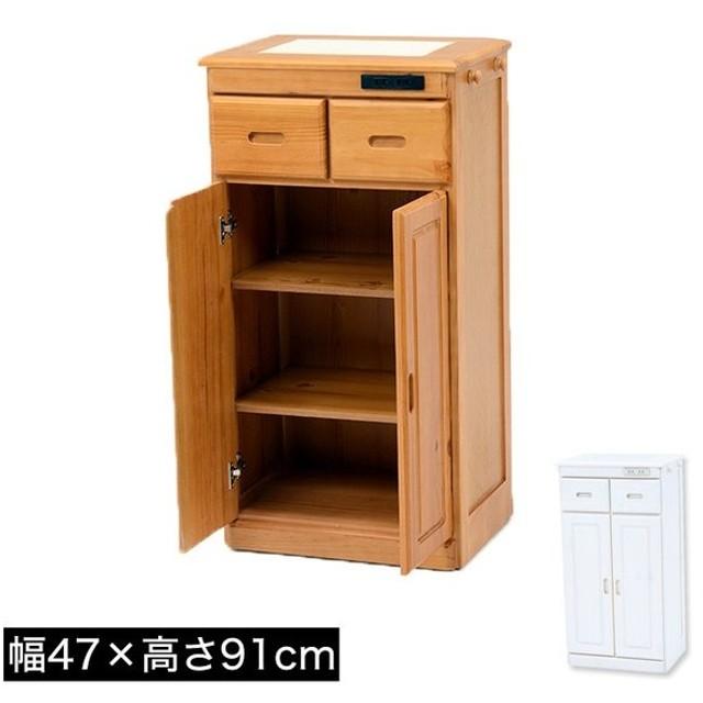 キッチンカウンター 幅47×高さ91cm ハイタイプ 天然木パイン材 完成品 コンセント付き 天板タイル敷き 隠しキャスター付き フック付き 可動棚