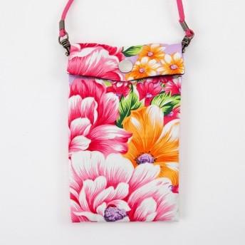 スマホがすっぽり入る♪台湾花布のポシェット(ラベンダー)