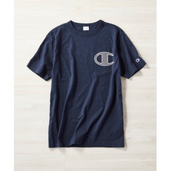 Champion バックロゴプリントTシャツ メンズ ネイビー