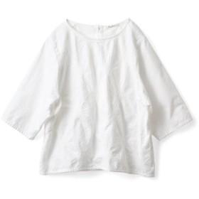 白いひまわり刺しゅうトップス〈レディース〉 サニークラウズ フェリシモ FELISSIMO【送料無料】