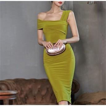 韓国レディースファッションサイトNO.1 CHIC気質 セクシー オフショルダー プリーツ バッグヒップ ミディスカート ベストドレス 宴会場 結婚式 二次会