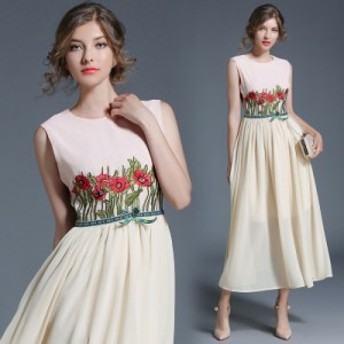 【取り寄せ】上品な雰囲気にぴったり!花柄とリボンが可愛いワンピース ライトピンク S/M/L/XL