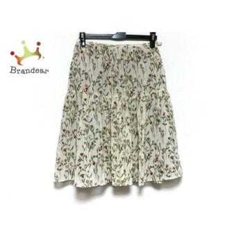 ホコモモラ JOCOMOMOLA スカート サイズ40 XL レディース 美品 ベージュ×グリーン×マルチ 花柄 スペシャル特価 20190829