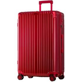 【5%OFF】 タビバコ スーツケース L 大型 TSAロック 超軽量 ダブルキャスター 8輪 アルミ風 ユニセックス レッド L 【tavivako】 【タイムセール開催中】