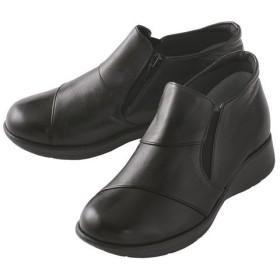 たびらく牛革5E軽量アンクルブーツ - セシール ■カラー:ブラック ■サイズ:23.5cm,24cm,24.5cm