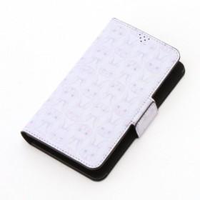 携帯 スマートフォン関連用品 オリプリスタンドスマホ手帳型ケース ミラー付き カラー 「グレー系にらめっこ」