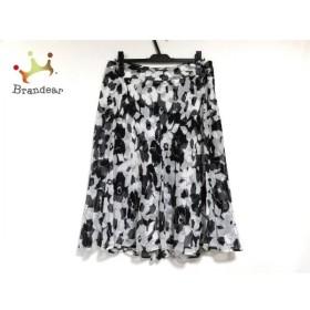 ニジュウサンク 23区 スカート サイズ44 L レディース 美品 白×黒 プリーツ/花柄 新着 20190521