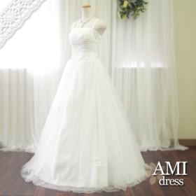 【9/30までセール】ウエディングドレス 刺繍レースが綺麗 プリンセスラインドレス オフホワイト 53331