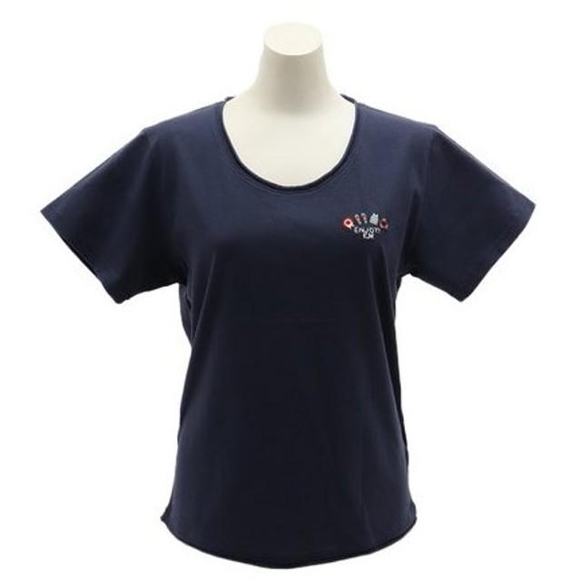 クリフメイヤー(KRIFF MAYER) ステッチ刺繍UネックTシャツ 1917204L-4-NVY (Lady's)