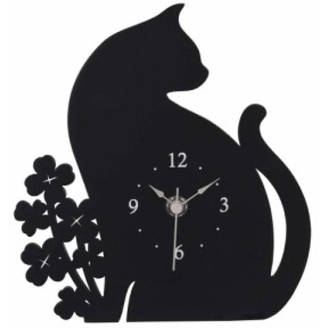 黒猫時計 猫 雑貨 猫グッズ 置き時計 おしゃれ アナログ