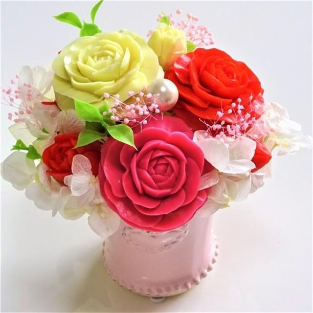 石鹸彫刻 華やかな薔薇のアレンジメント