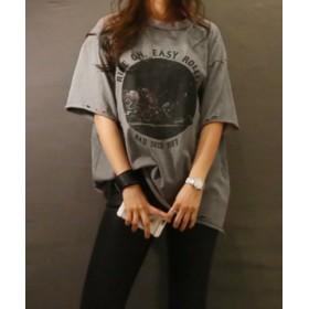 (3rd Spring/サードスプリング)NANING9(ナンニング)RIDEONダメージTシャツ-1/レディース グレー
