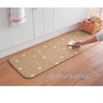 キッチンマット マット キッチン ディズニー 拭ける すべりにくい 日本製 ミッキー ベージュ 約45×120