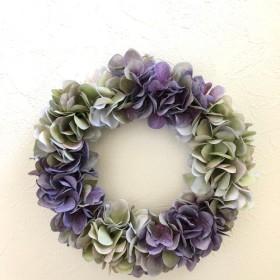 紫陽花のアンティークリース Mサイズ ︎パープル×グリーン ︎直径 約25cm 選べるリボン付き