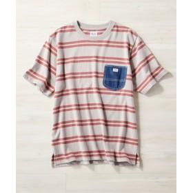 Lee デニムポケットボーダーTシャツ メンズ ネイビー*ベージュ