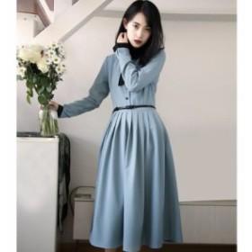 2019☆春夏新作!!前ボタンの襟付きデザインがレトロな印象を与える、清楚で気品のある、リボンタイ付き、膝下丈ワンピース♪C31757