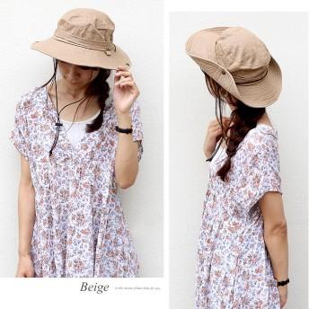 帽子全般 - AWESOME-shop サファリハット 帽子 リボン UV コットン100% ハット ウエスタン テンガロン 紫外線 つば広 レディース 夏 抗菌防臭サイズ調整