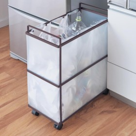 ゴミ箱 キッチン分別 スッキリ設計のキャスター付き分別ゴミ箱 グレイッシュブラウン 3分別