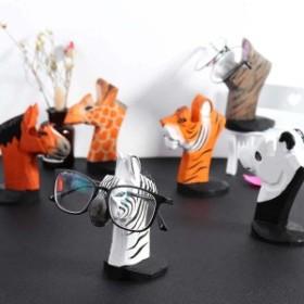 木彫りの動物メガネスタンド トラ 虎 タイガー パンダ 猫 ねこ ネコ キャット シマウマ 馬 ウマ キリン アニマル 眼鏡 老眼鏡