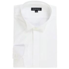 (TAKA-Q/タカキュー)【大きいサイズ】グランバック/GRAND-BACK 綿100%形態安定ウィングカラー長袖シャツ 白無地/メンズ ホワイト