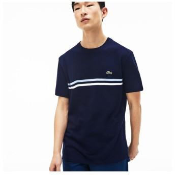 【30%OFF】 ラコステ 『MADE IN FRANCE』ボーダー鹿の子地クルーネックTシャツ メンズ ネイビー 2(日本サイズS) 【LACOSTE】 【セール開催中】