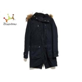 コムサメン コート サイズM メンズ 黒×ブラウン 冬物/フェイクファー/ジップアップ 新着 20190521