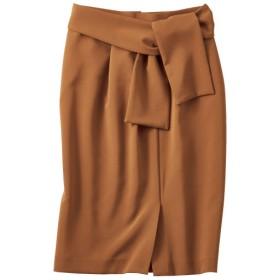 70%OFF【レディース】 リボンベルト付きタックタイトスカート - セシール ■カラー:ライトブラウン ■サイズ:61-88,58-85
