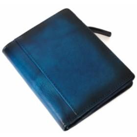 財布 二つ折り メンズ レディース 5年熟成レザー 青 ブラウン 大容量 ガバッと小銭入れ Gahnen ゲーネン ブランド