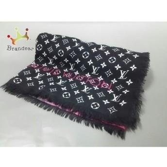 ルイヴィトン ストール(ショール) モノグラム・エトールテリング M71169 黒×ピンク×白 ウール 新着 20190521