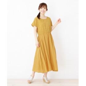 3can4on(Ladies)(サンカンシオン(レディース)) 【洗える】コットン刺繍ワンピース