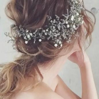 ブルーファンタジア&かすみ草(ドライフラワー)髪飾りset