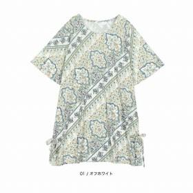 [マルイ]【セール】【大きいサイズ】【L-5L】裾リボンバイヤス柄チュニック/エムビー(大きいサイズ)(MB)