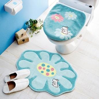 ベルメゾン アップリケ刺繍のトイレマット&フタカバーセット カラー 「ムーミン」