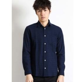 【semantic design:トップス】シャドーボーダー柄レギュラーカラー長袖シャツ