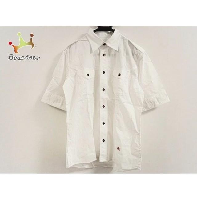 a4849aeeb0fe30 バーバリーブラックレーベル Burberry Black Label 半袖シャツ サイズ3 L メンズ 美品 白 新着
