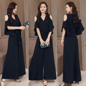 34a7520ac7d68  送料無料  パンツドレス パーティードレス パンツ袖あり 大きいサイズ 黒 かっこいいパンツ