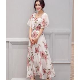 花柄 ワンピース マキシ丈 マキシワンピ シフォン お呼ばれ 秋物 冬物 最新 レディース ファッション2019 人気 可愛い 大人