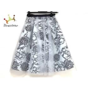 ジャスグリッティー ロングスカート サイズ0 XS レディース 美品 ライトブルー×黒 花柄   スペシャル特価 20190825