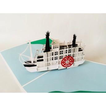 手作り切り紙ポップアップカード 蒸気船